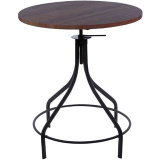 Machinist Black + Wood Top Round Adjustable Dining Table