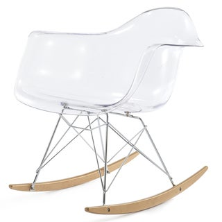 RockMoi Modern Rocking Armchair In Clear And Goldton Wood