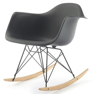 RockMoi Modern Rocking Armchair In Black And Goldtone