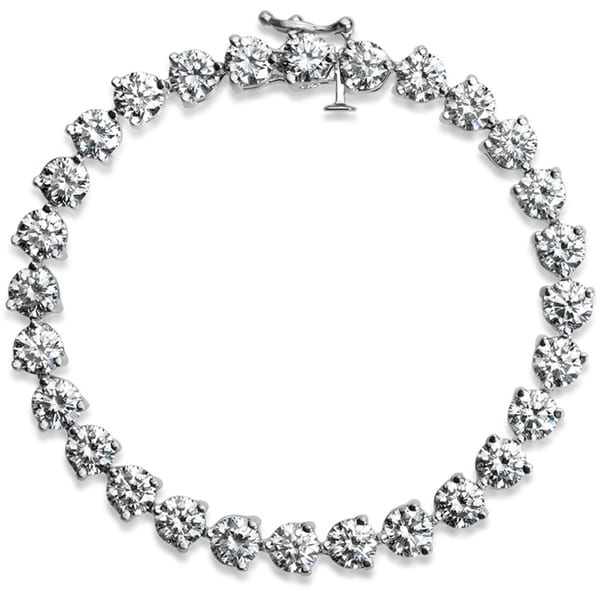 SummerRose Platinum 16ct TDW Round-cut Diamond Tennis Bracelet (I-J, VS1-VS2)