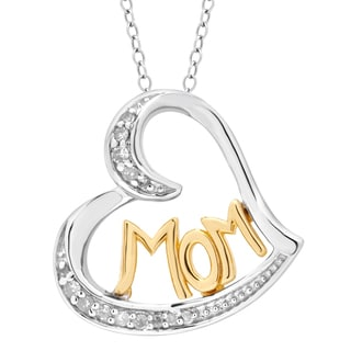 Divina Two-tone Sterling Silver 1/10ct TDW Diamond Mom Heart Pendant (H-I, I3)