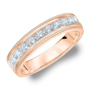Amore Rose Gold 1/2ct TDW Milgrain Diamond Wedding Band (G-H, SI1-SI2)