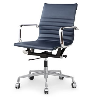 Dix Modern Navy Blue Vegan Leather Office Chair
