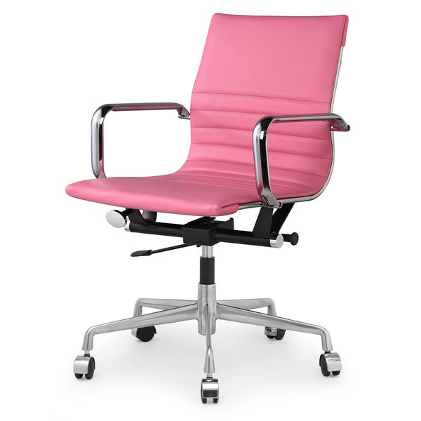 Dix Modern Pink Vegan Leather Office Chair