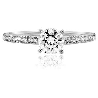 Scott Kay 14k White Gold 1/10ct TDW Diamond Semi Mount Engagement Ring (G-H, VS2)