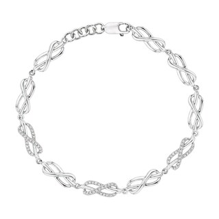 Sterling Silver 1/4ct TDW Diamond Infinity Link Bracelet (J-K, I1-I2)