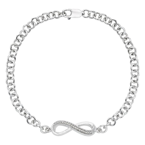Sterling Silver Diamond Accent Infinity Link Bracelet