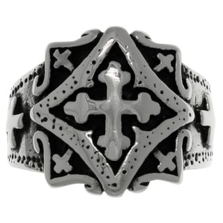 CGC Stainless Steel Band Ring with Ornamental Gothic Cross