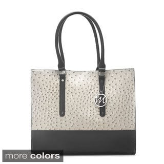 Emilie M Jolene Two-tone Ostrich Embossed Tote