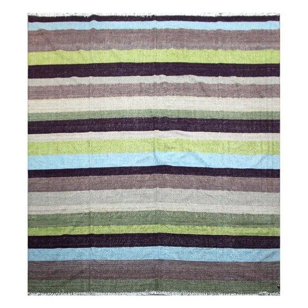 Pura Vida Stripe Pattern 8x10 Flat-Weave Rug