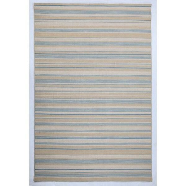 Pura Vida Stripe Pattern 5x8 Flat-Weave Rug