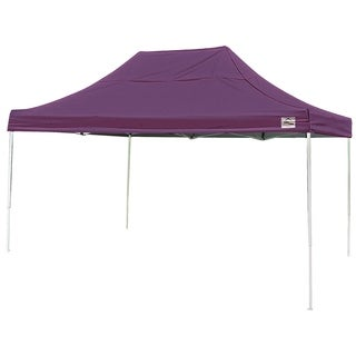 Shelterlogic 10' W x 15' L Straight Leg Pop-up Canopy, American Pride Purple Cover and Roller Bag / 22704