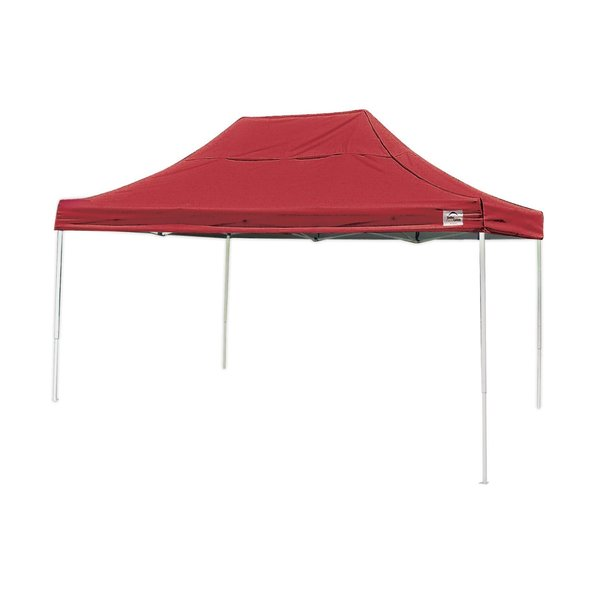 Shelterlogic 10' W x 15' L Straight Leg Pop-up Canopy, American Pride Red Cover and Roller Bag / 22550