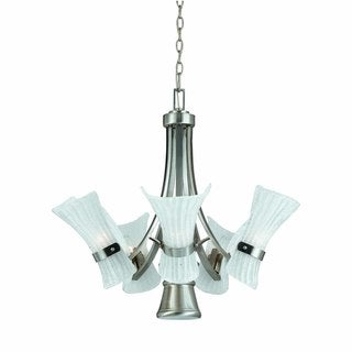 Bali 5+1-light chandelier in Brushed Steel