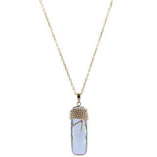 14k Yellow Gold Green Amethyst Wire Wrapping Rectangle Necklace
