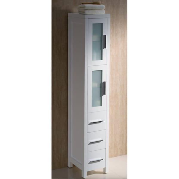 fresca torino white tall bathroom linen side cabinet overstock