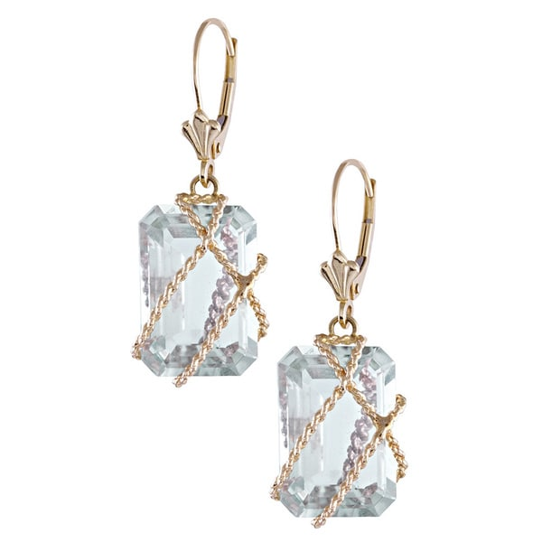 14K Yellow Gold Green Amethyst Wire-wrapped Leverback Earrings