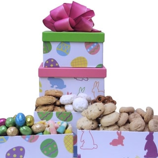 Happy Easter: Chocolates, Snacks and Cookies Easter Gift Tower