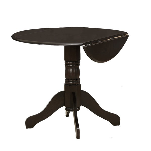 Espresso Round Drop Leaf Table