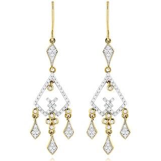 Luxurman 14k Gold 3/4ct TDW Diamond Chandelier Earrings (H-I, SI1-SI2)
