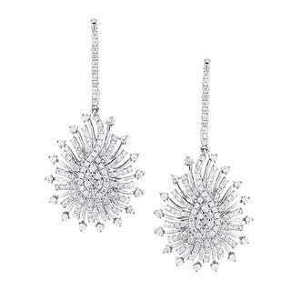 Luxurman 14k Gold 2.6ct. TDW Diamond Spiral Sunburst Drop Earrings (G-H, VS1-VS2)