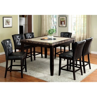 Furniture of America Bellasia 7-Piece Black Counter Height Dining Set