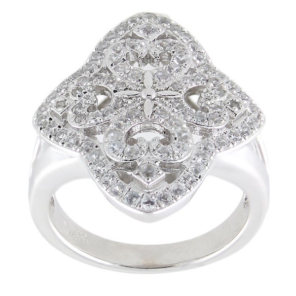 Sterling Silver Round White Zircon-encrusted Openwork Ring