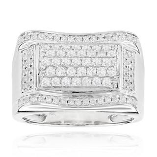 Luxurman 14k White Gold Men's 1 1/5ct TDW Gold Diamond Ring