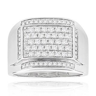 Luxurman 14k White Gold Men's 1 1/5ct. TDW Diamond Ring (H-I, SI1-SI2)