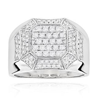 Luxurman 14k White Gold Men's Diamond Ring