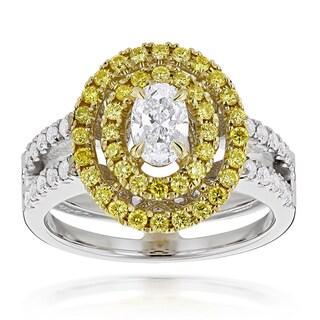 Luxurman 18k Two-tone Gold 1 1/10ct TDW Diamond Engagement Ring