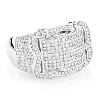 Luxurman 10k White Gold Men's 1 1/6ct. TDW Diamond Belt Ring (H-I, SI1-SI2)
