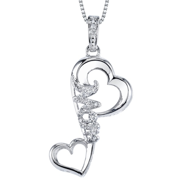 Love Grows Sterling Silver and Diamond Double Heart Mom Pendant
