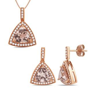 14k Rose Gold 1/2ct. TDW Diamond/ Morganite Earring and Pendent Set (G-H, I2-I3)