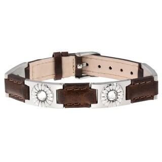 Sabona Brown Leather Gem Stainless Magnetic Bracelet
