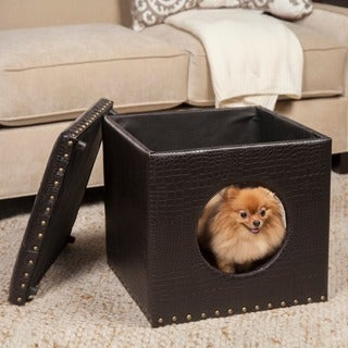 HomePop Brown Faux Alligator Leather Ottoman Pet Bed