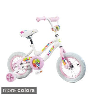 Tauki Colorful 12 inch Flowers Girl Bike with Removable Training Wheels, Coaster Brake