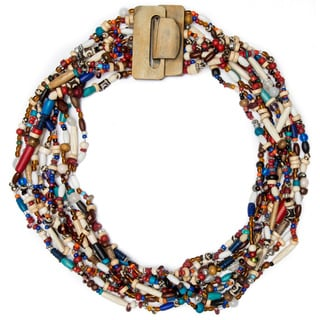 10-strand Wood Clasp Necklace (India)