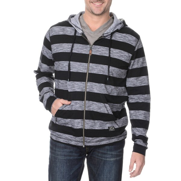 Seven7 Men's LS Grey/Black Marl Stripe Hoodies