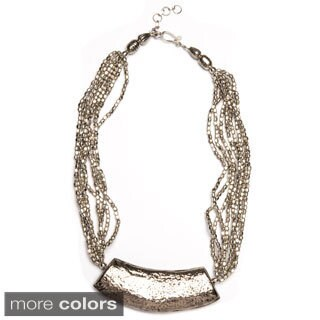 Multi Strand Metal Bead Necklace with Amulet (India)