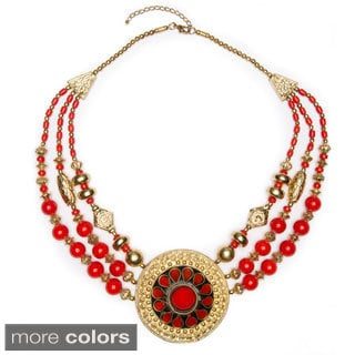 Rashmi' Medallion Drop Beaded Necklace (India)