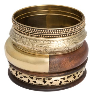 Set of 5 Wood and Brass Bangle (India)