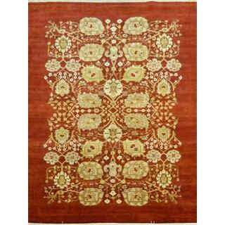 Pakistani Elaida Orange Floral Wool Area Rug (6'1 x 9')
