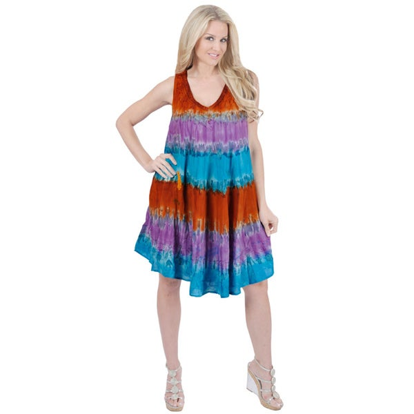 La Leela Viscose Tie Dye Beach Dress