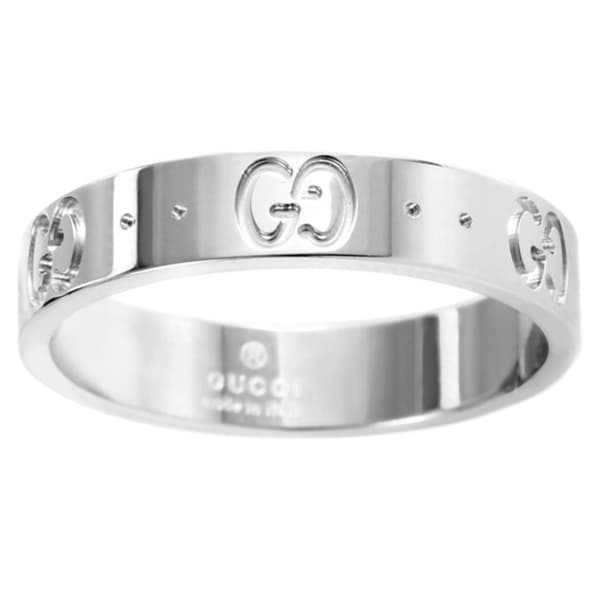 Gucci 18k White Gold Thin Icon Band