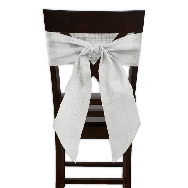 Burlap Ivory Chair Tie with Tapered Ends and Serged Edges (Set of 2)