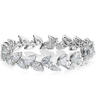SummerRose 18k White Gold 27 1/8ct TDW Pearshape Diamond 2-row Bracelet