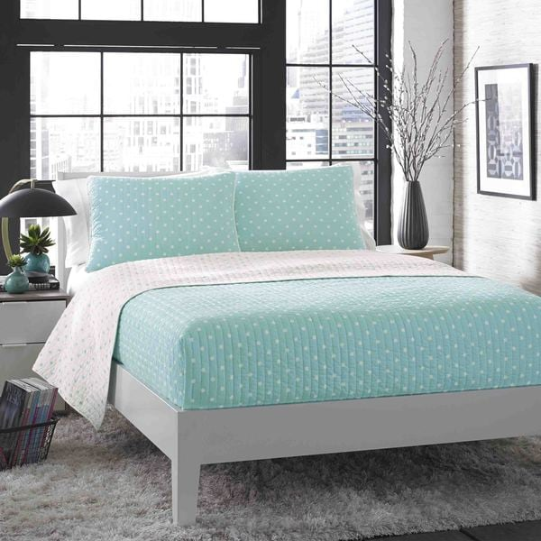City Scene Do the Dot Aqua Cotton Reversible 3-piece Cotton Quilt Set