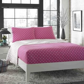 City Scene Do the Dot Pink Cotton Reversible 3-piece Quilt Set