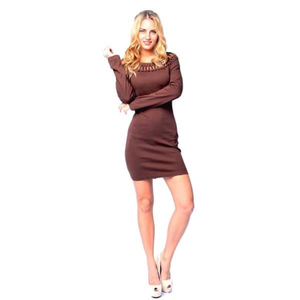 Sara Boo Women's Solid Long Sleeve Cotton Dress